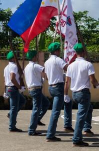 4 boys marching