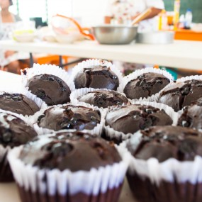 choc muffins close up