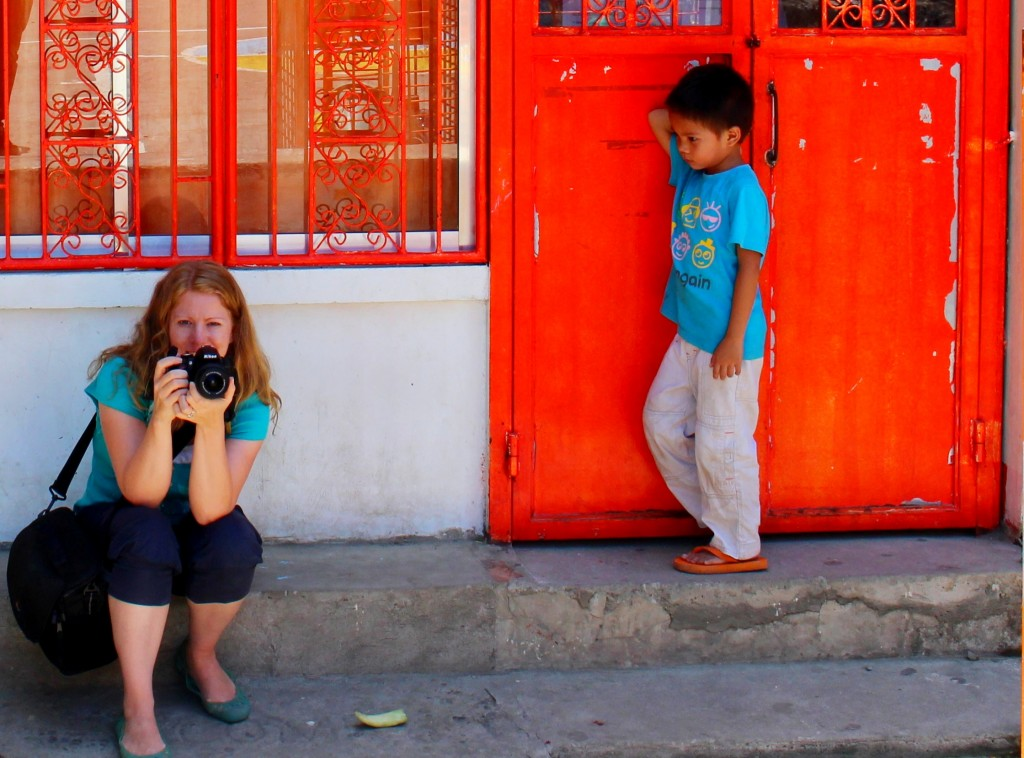 Girl taking a picture in the Philippines