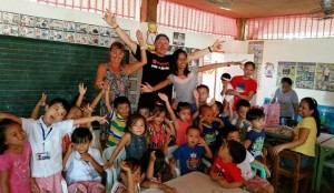 The couple running a nutrition program with the pre-school kids at Bliss Day Care Center.